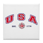 USA Firefighter Tile Coaster