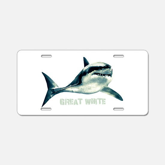 Great White Aluminum License Plate