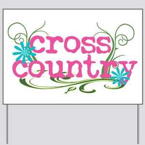 Cross Country Pink Yard Sign