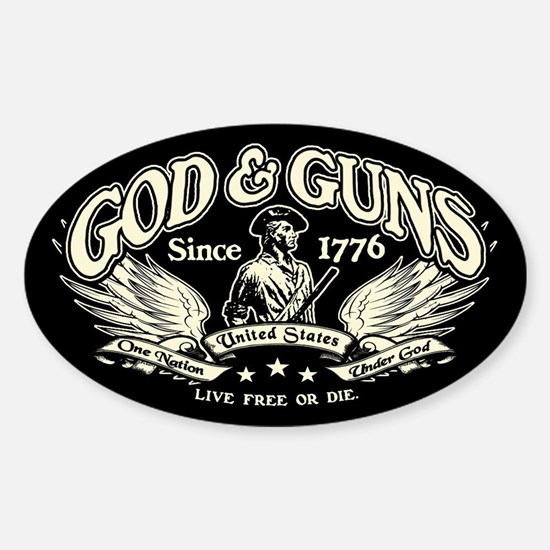 God & Guns Sticker (Oval)
