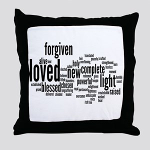 Who I am in Christ Word Collage Throw Pillow