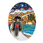 Motorcycle Skyway #1 Ornament (Oval)