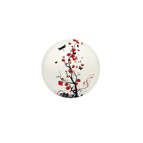 Black and Red Flowers Mini Button (10 pack)