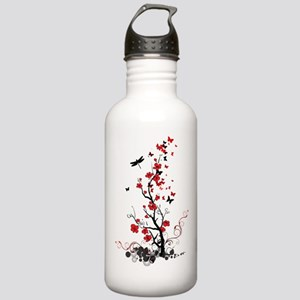 Black and Red Flowers Stainless Water Bottle 1.0L