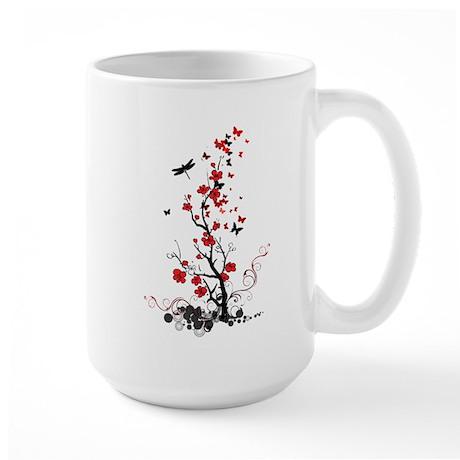 Black and Red Flowers Large Mug