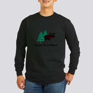 Customized Moose WoodsT's Long Sleeve Dark T-Shirt