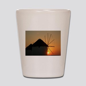 Mykonos Windmills at sunset Shot Glass