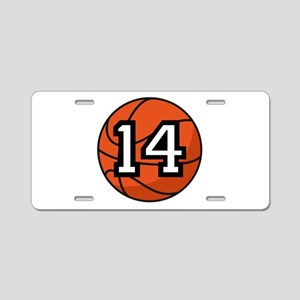 Basketball Player Number 14 Aluminum License Plate