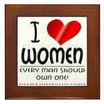 I Heart Women Framed Tile
