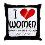 I Heart Women Throw Pillow