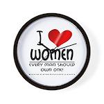 I Heart Women Wall Clock