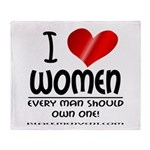 I Heart Women Throw Blanket