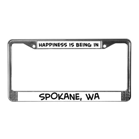 Happiness is Spokane License Plate Frame