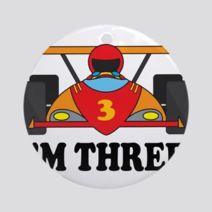 Racing Car 3rd Birthday Ornament (Round)