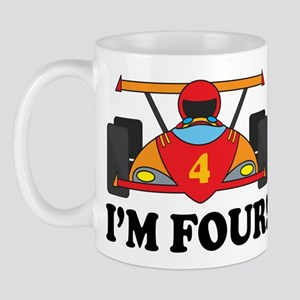 Racing Car 4th Birthday Mug