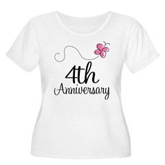 4th Anniversary Gift Butterfly T-Shirt