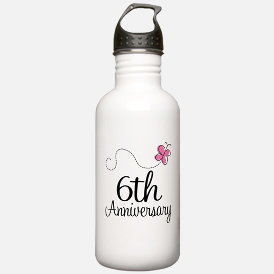 6th Anniversary Gift Butterfly Water Bottle