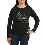 Go Vegan 1 - Women's Long Sleeve Dark T-Shirt