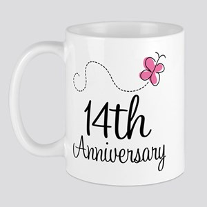 14th Anniversary Gift Butterfly Mug