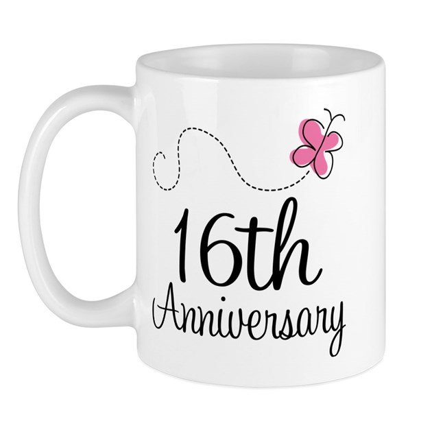 What Is The 16th Wedding Anniversary Gift: 16th Anniversary Gift Butterfly Mug By Anniversarytshirts