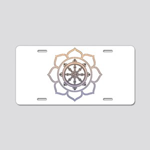 Dharma Wheel with Lotus Flowe Aluminum License Pla