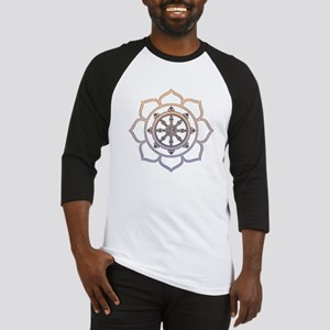 Dharma Wheel with Lotus Flowe Baseball Jersey