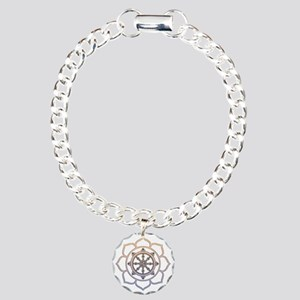Dharma Wheel with Lotus Flowe Charm Bracelet, One