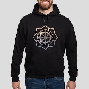 Dharma Wheel with Lotus Flowe Hoodie (dark)