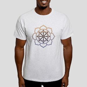Dharma Wheel with Lotus Flowe Light T-Shirt
