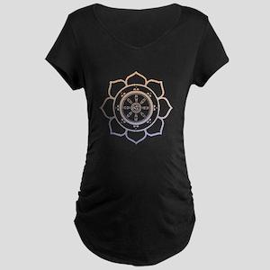 Dharma Wheel with Lotus Flowe Maternity Dark T-Shi