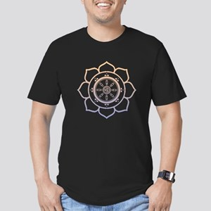 Dharma Wheel with Lotus Flowe Men's Fitted T-Shirt
