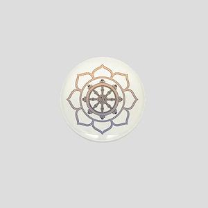 Dharma Wheel with Lotus Flowe Mini Button