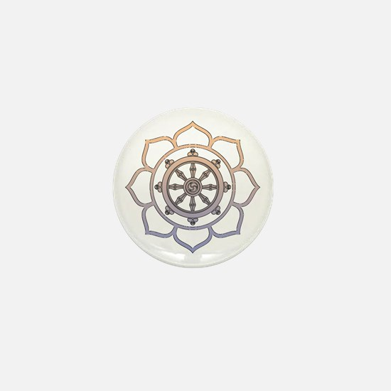 Dharma Wheel with Lotus Flowe Mini Button