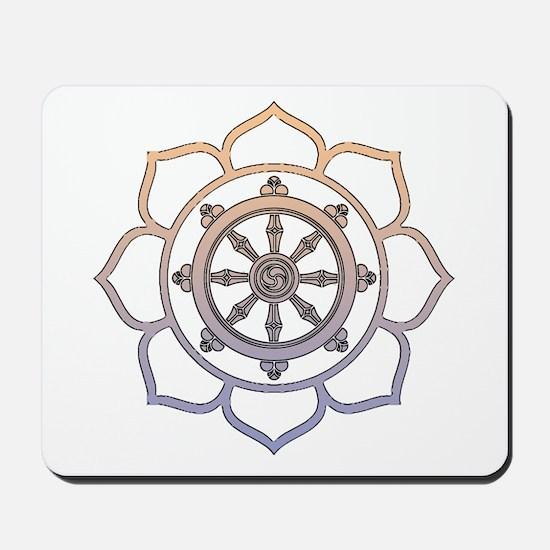 Dharma Wheel with Lotus Flowe Mousepad