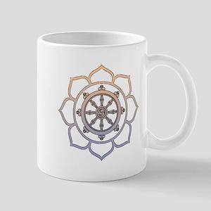 Dharma Wheel with Lotus Flowe Mug