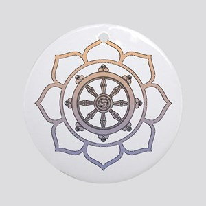 Dharma Wheel with Lotus Flowe Ornament (Round)
