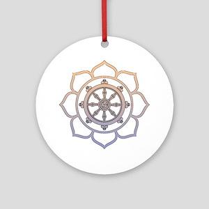 Dharma Wheel with Lotus Flowe Ornament (Round)