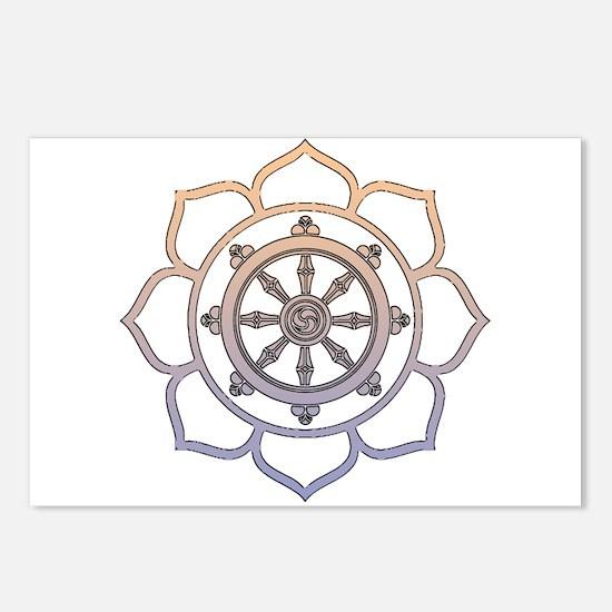 Dharma Wheel with Lotus Flowe Postcards (Package o