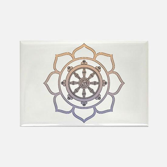 Dharma Wheel with Lotus Flowe Rectangle Magnet