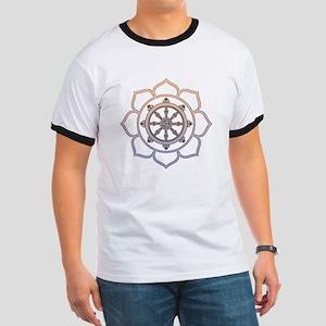 Dharma Wheel with Lotus Flowe Ringer T