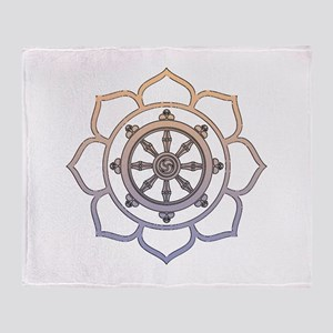 Dharma Wheel with Lotus Flowe Throw Blanket
