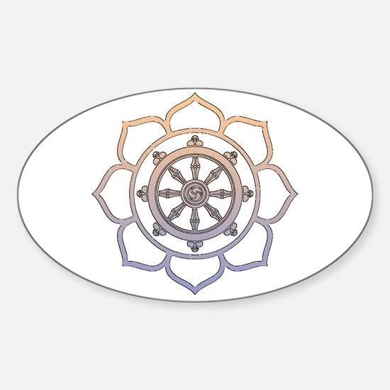 Dharma Wheel with Lotus Flowe Sticker (Oval)