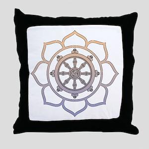 Dharma Wheel with Lotus Flowe Throw Pillow