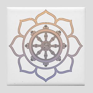Dharma Wheel with Lotus Flowe Tile Coaster