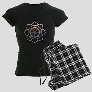 Dharma Wheel with Lotus Flowe Women's Dark Pajamas