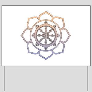 Dharma Wheel with Lotus Flowe Yard Sign