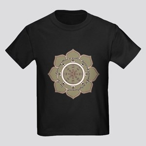 Dharma Wheel with Lotus Flowe Kids Dark T-Shirt