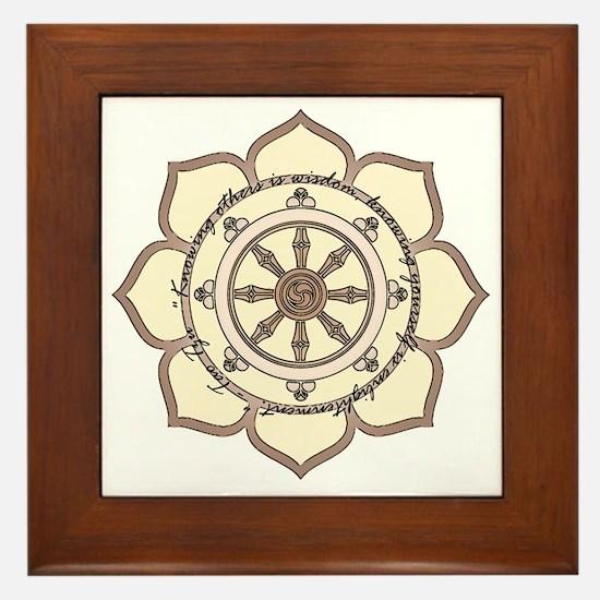 Dharma Wheel with Lotus Flowe Framed Tile