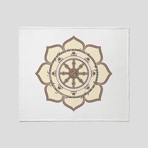 Dharma Wheel with Lotus Flowe Throw Blanket