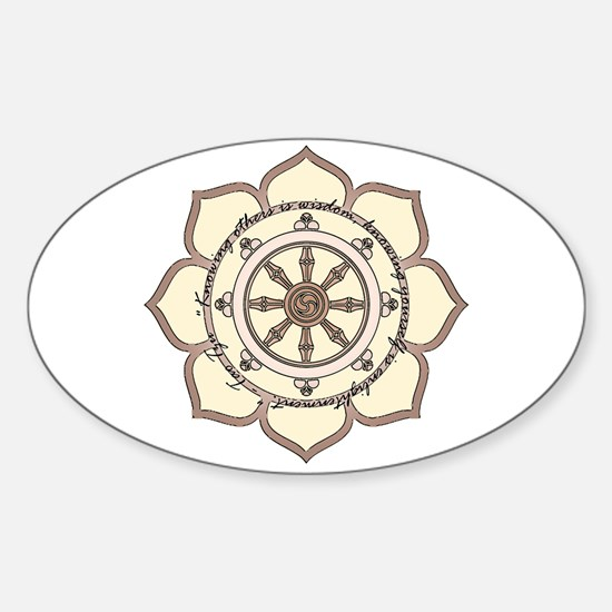 Dharma Wheel with Lotus Flowe Sticker (Oval)